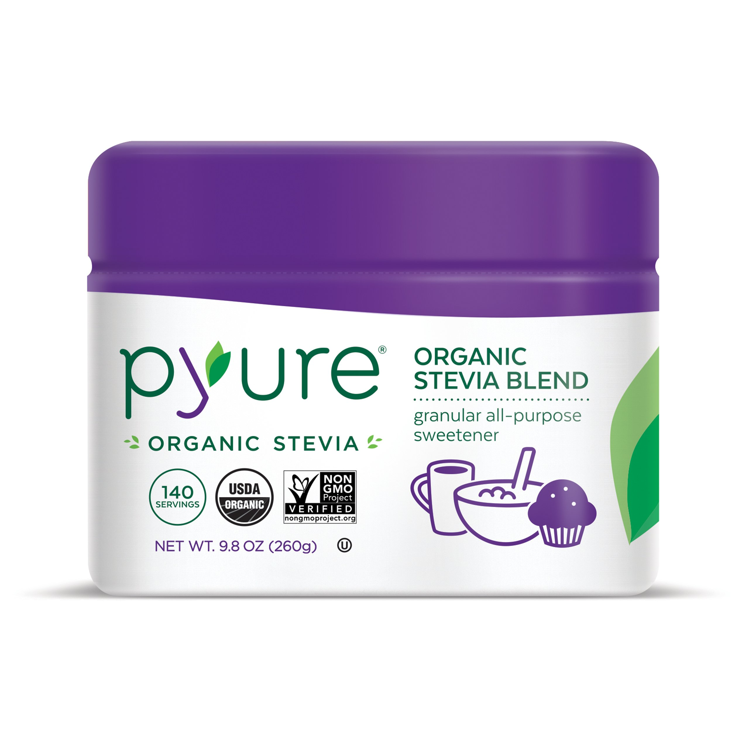 Pyure Organic All-Purpose Blend Stevia Sweetener, Sugar Substitute, Flip-Top Tub, 9.8 Ounce
