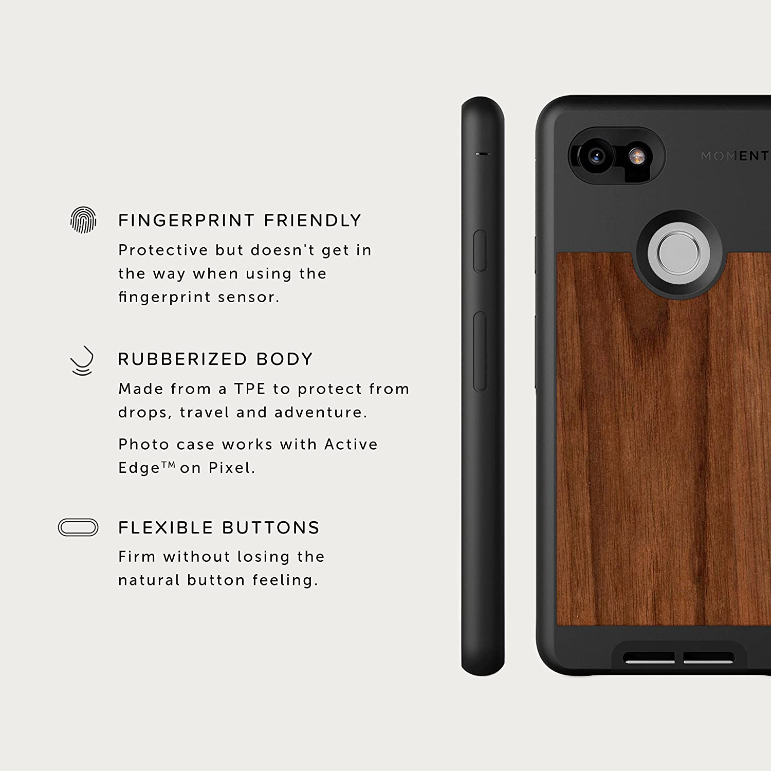 new styles c9a6a 72b3d Moment Pixel 2 XL Case Photo Case in Walnut Wood - Thin, Protective, Wrist  Strap Friendly case for Camera Lovers.