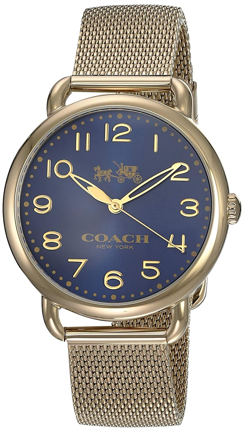 Coach Women s 14502665 Delancey Gold Tone Stainless Mesh Bracelet Blue Dial Watch