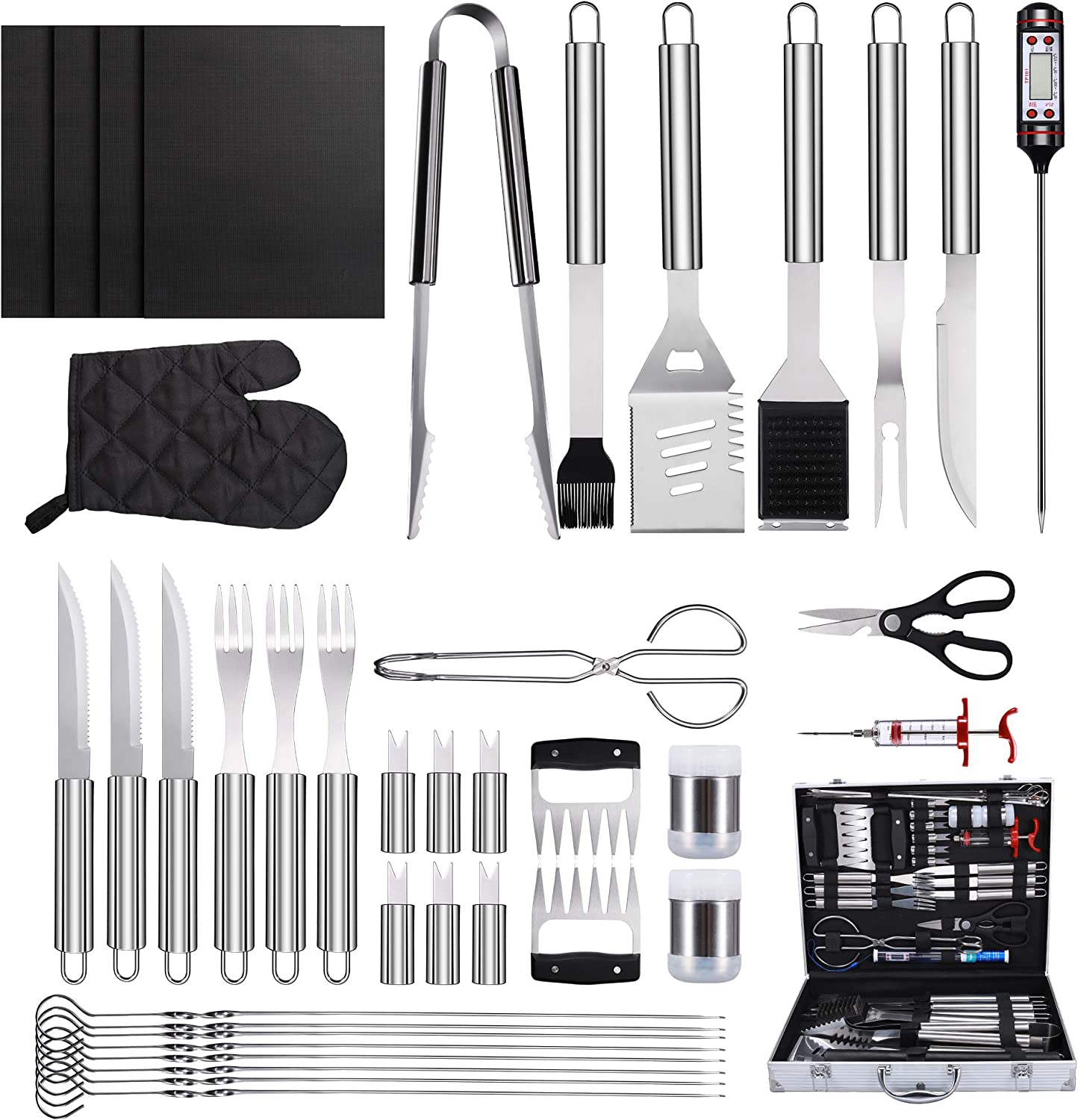 SYCEES 40 in 1 Grill Accessories Tool Set, Stainless Steel BBQ Grill Tools with Thermometer, Grill Mats for Camping/Backyard Barbecue, Grilling Tools Set for Men Women