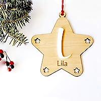 Estrella de madera de haya personalizada con inicial en relieve, ornamento para el árbol de Navidad