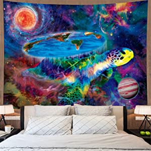 Trippy Space Tapestry Psychedelic Turtle Tapestry Mysterious Galaxy Planets Tapestry Wall Hanging Fantasy Earth Wall Tapestry for Living Room H52 x W59