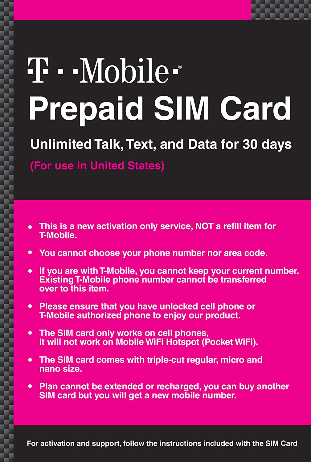Amazon Com T Mobile Prepaid Sim Card Unlimited Talk Text And Data In Usa For 20 Days