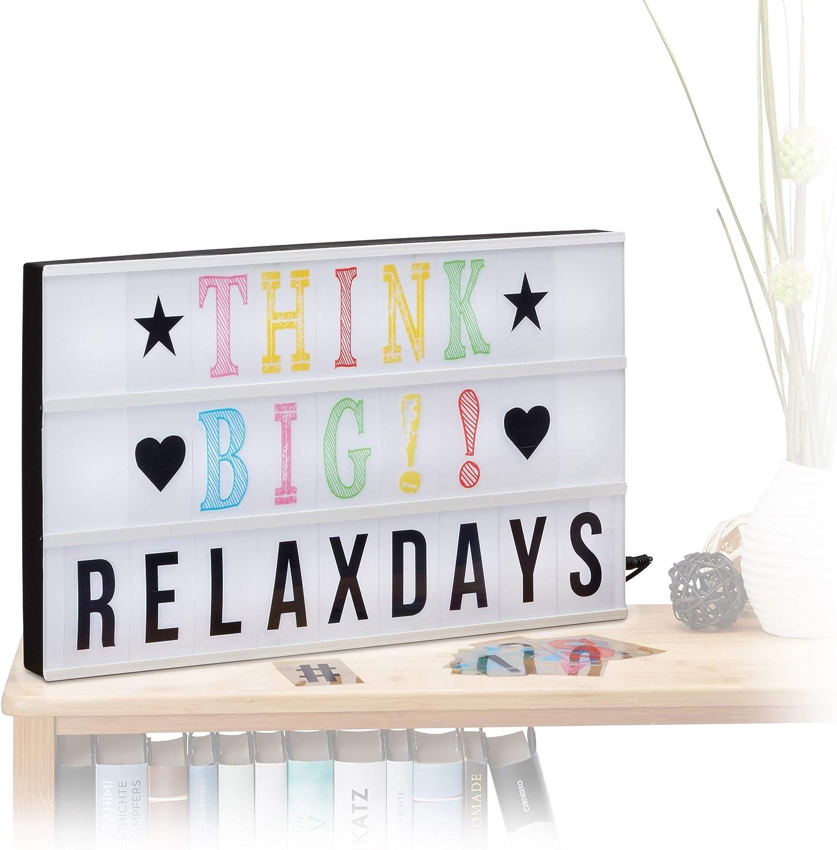 Relaxdays- Caja de luz led con 170 Letras, símbolos y Cable USB, Color Blanco y Negro, 4.5 x 30 x 30.5 cm (10021541): Amazon.es: Iluminación