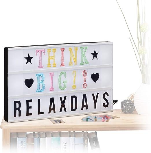 Relaxdays- Caja de luz led con 170 Letras, símbolos y Cable USB ...