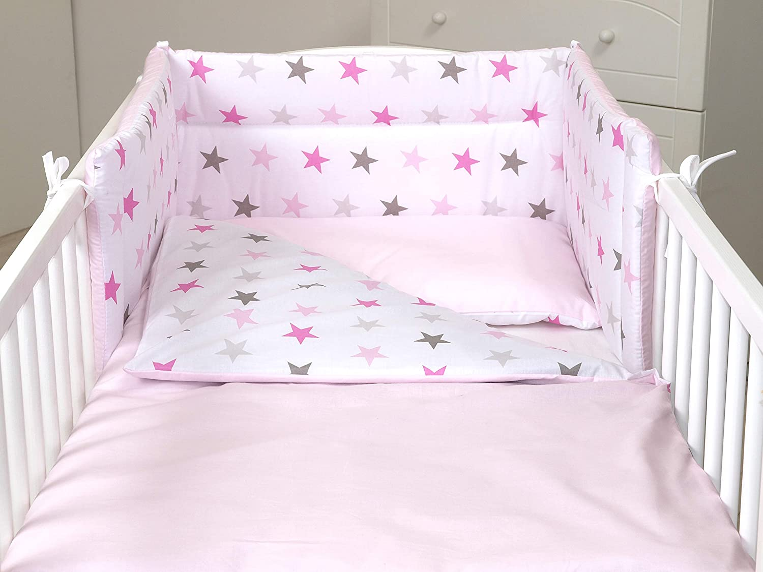 5 Pc Baby Bedding Set For Cot 120x60 Or Cot Bed 140x70cm Inc Duvet Pillow Duvet Cover Pillow Case Bumper Cot 120x60 Pink Grey Stars Light Pink Amazon Co Uk Baby