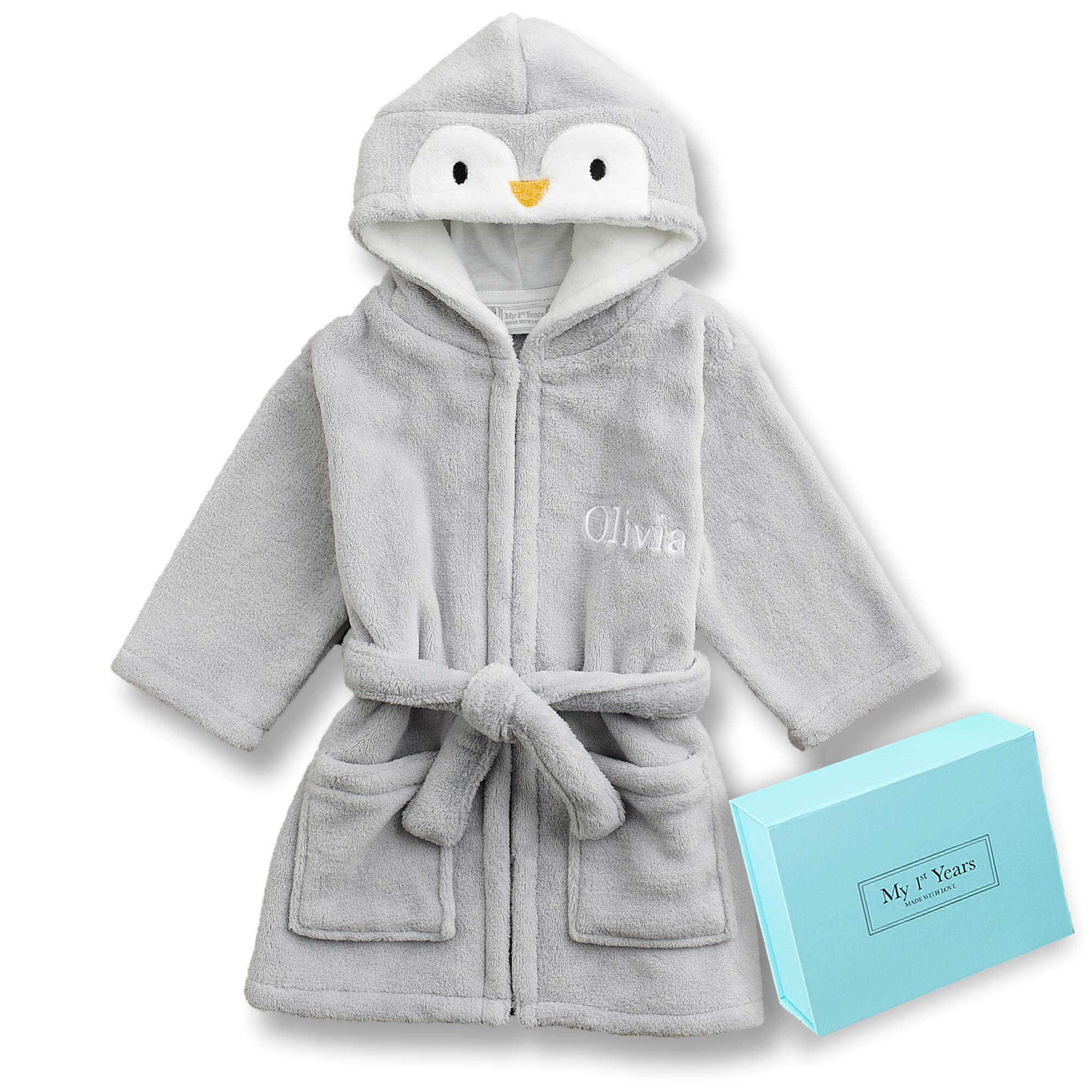 Personalized Bath Robe for Baby & Toddler - Adorable Penguin Soft Hooded Animal Bathrobe for Kids - The Perfect Custom Baby Gift for Boys & Girls - Gift Box Included by MY 1ST YEARS MADE WITH LOVE