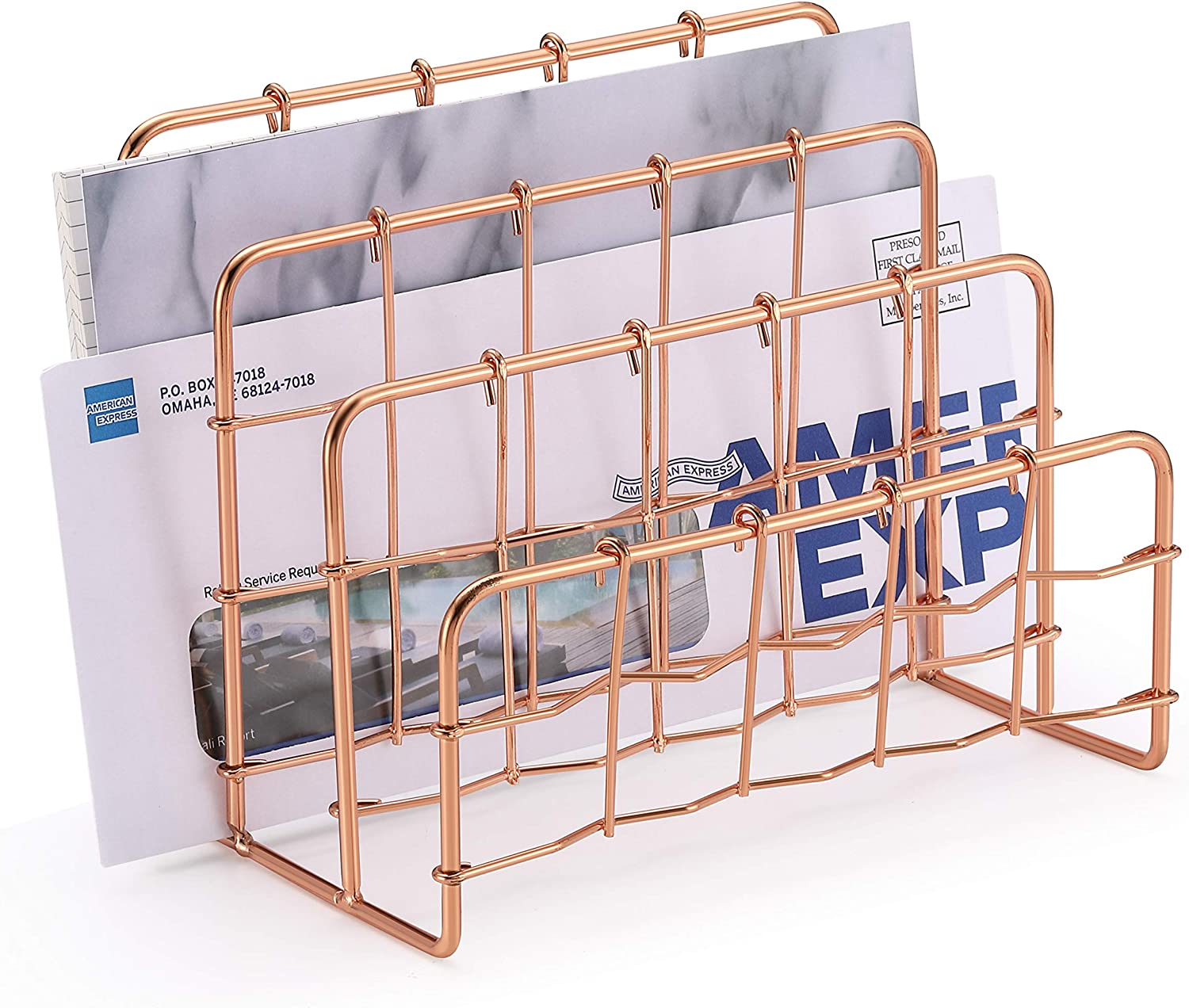 CAXXA 3 Slot Desktop Metal Mail Organizer, Books Files Brochures Postcards Sorter, Rose Gold