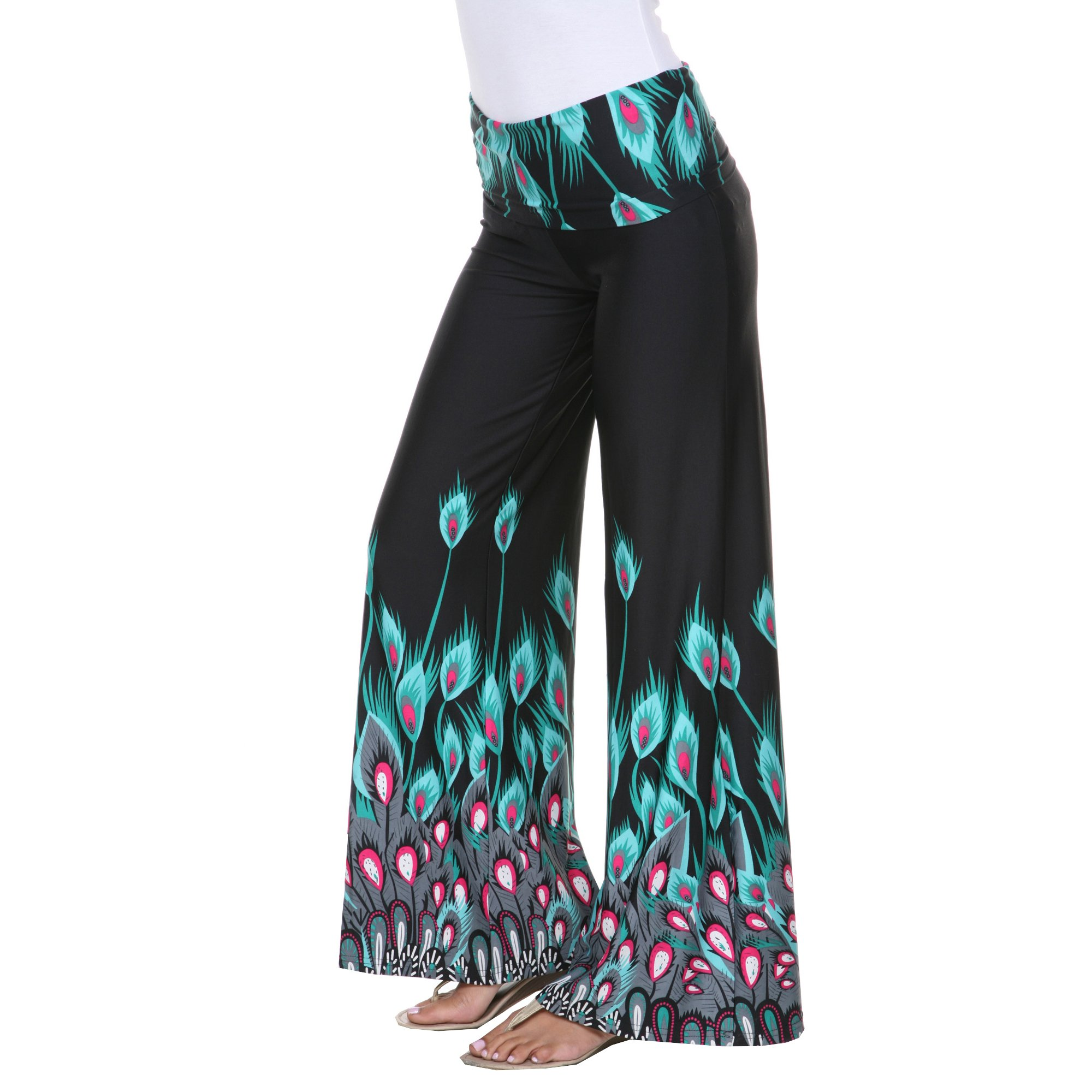 White Mark Women's Wide Leg Printed Peacock Feather Palazzo Pants L Teal