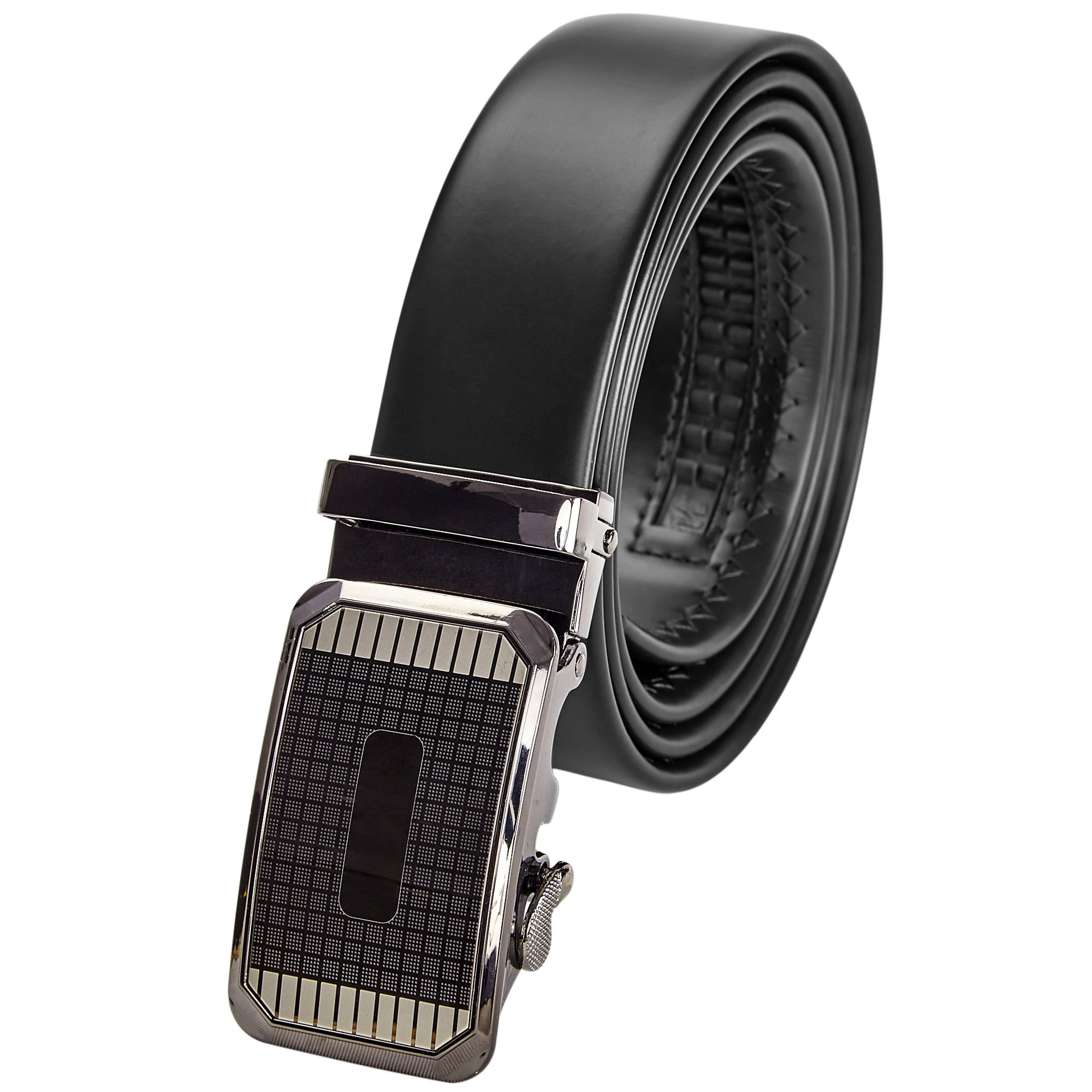 """Brown Genuine Leather Ratchet Men's Belt - Casual and Formal -Checkered Onyx Buckle – 44""""-56"""" Adjustable Automatic Click Buckle – by Indigo Station"""