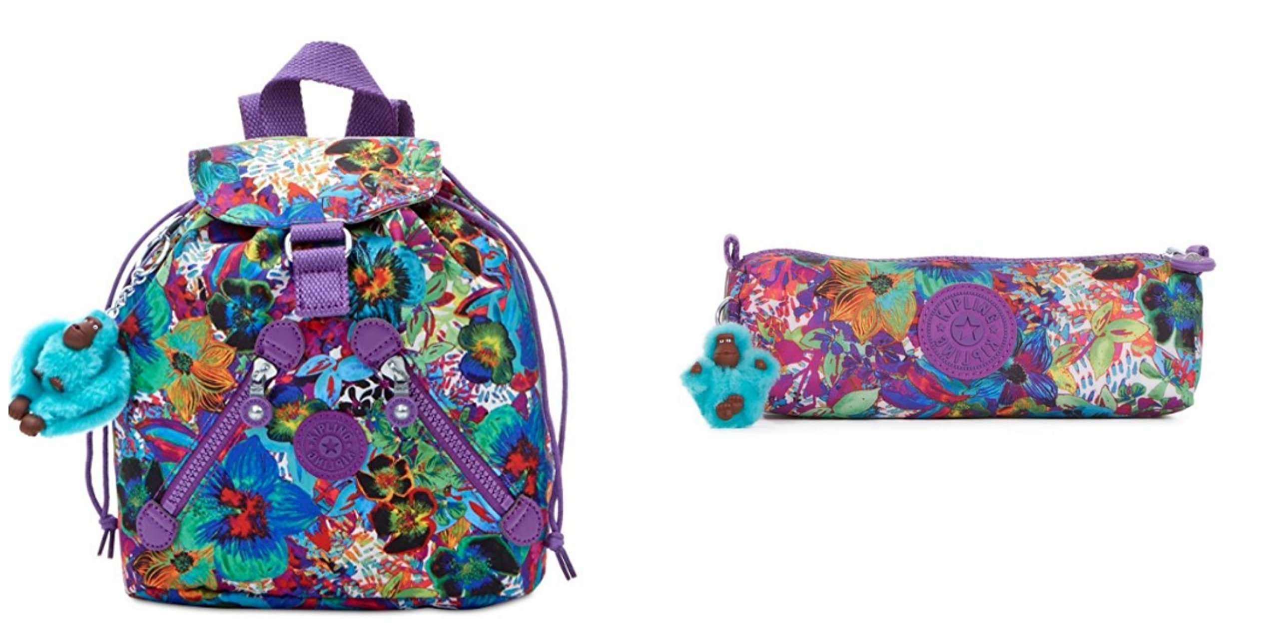 Kipling Aloha Grove Purple Bundle Fundamental XS Backpack & Pencil Case