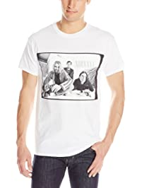 FEA Men's Nirvana and Kurt Cobain Black and White Photo T-Shirt