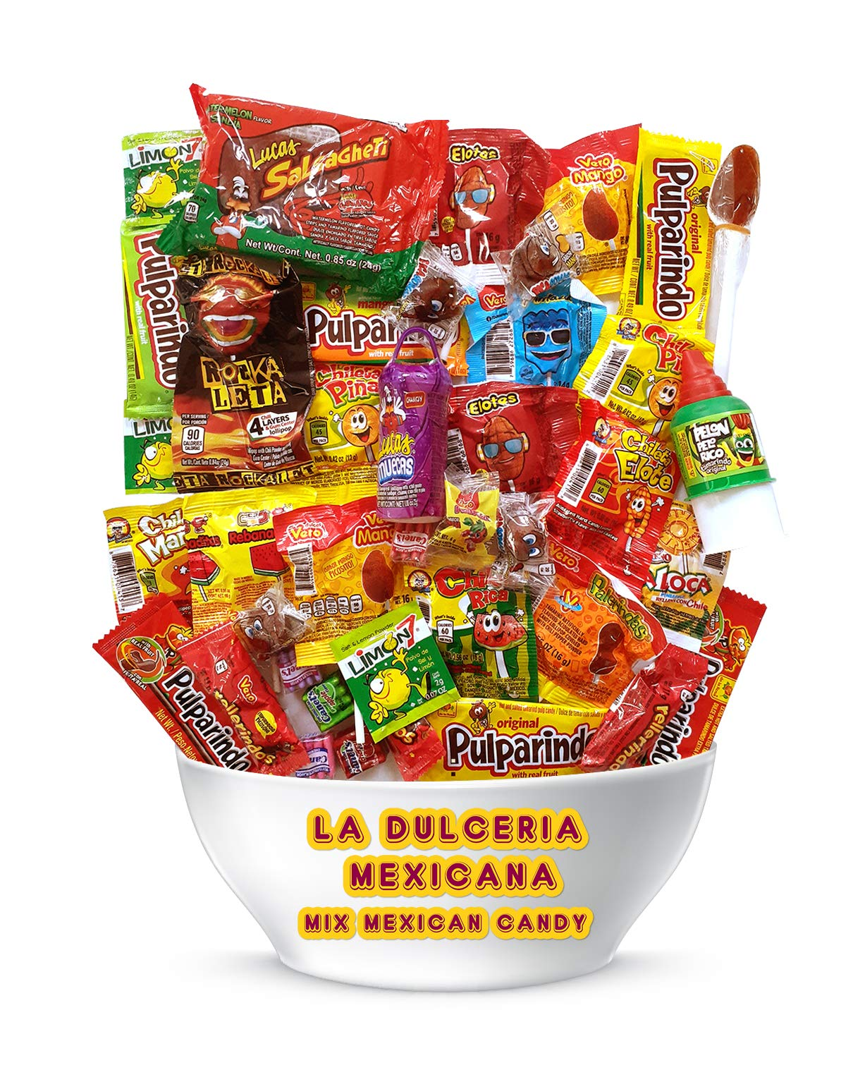 """Mexican Candy Assortment Mix (36 Count) """"La Dulceria Mexicana"""" Variety of Spicy, Sweet, Sour, Includes Lucas, Pulparindo, Pelon, Rebanaditas, Vero, Azteca Chileta by Look-On"""