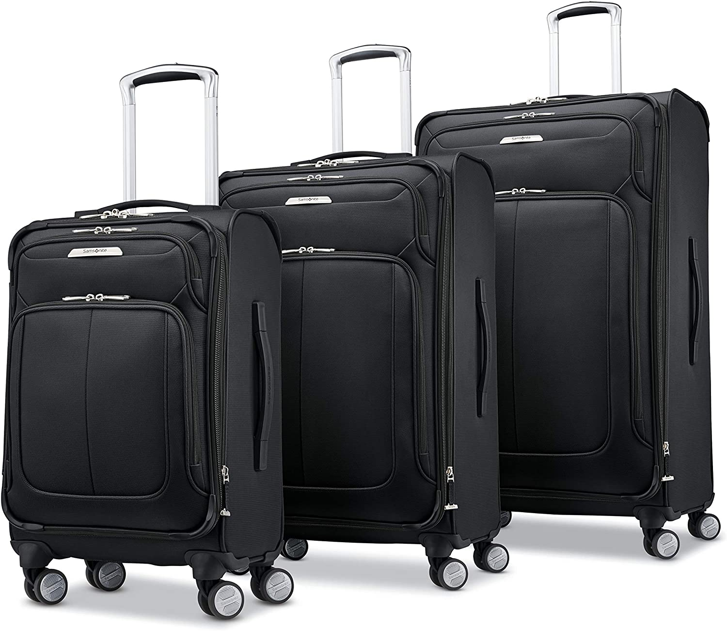Samsonite Solyte DLX Softside Expandable Luggage with Spinner Wheels, Midnight Black, 3-Piece Set (20/25/29)