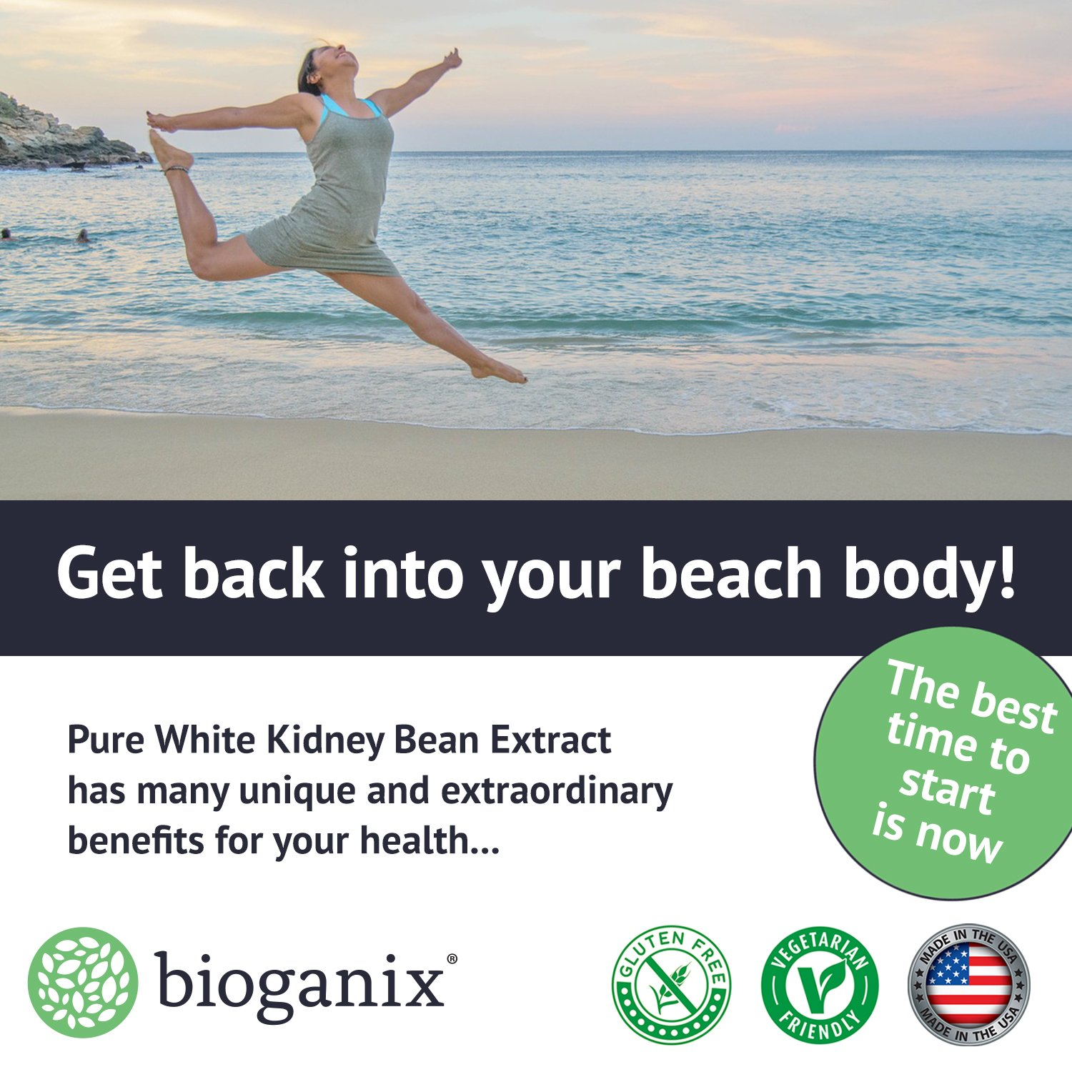 BioGanix Weight Loss Supplement with Pure White Kidney Bean Extract, Phase 2 Carb and Fat Blocker, 1800 mg, 60 Capsules