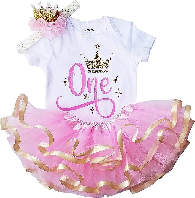 Amazon.com: Conjunto de tutú y corona de oro rosa para niña ...