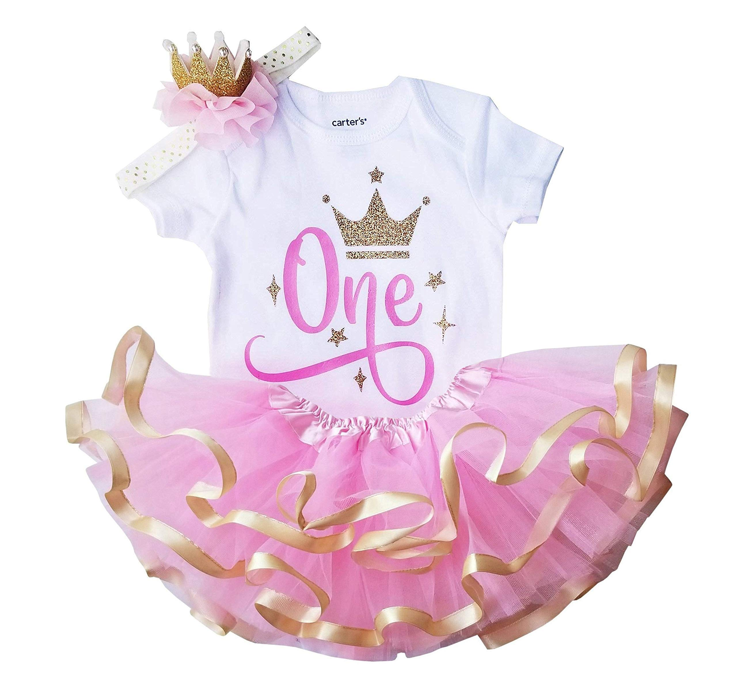 1st Birthday Outfit Girl Pink Gold Tutu Set and Crown (24M Short) by Perfect Pairz
