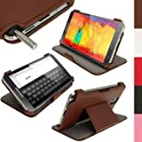 igadgitz Braun PU Ledertasche Hülle Flip Case Cover für Samsung Galaxy Note 3 III N9000 mit Multi Winkelbetrachtung Stand + Displayschutzfolie