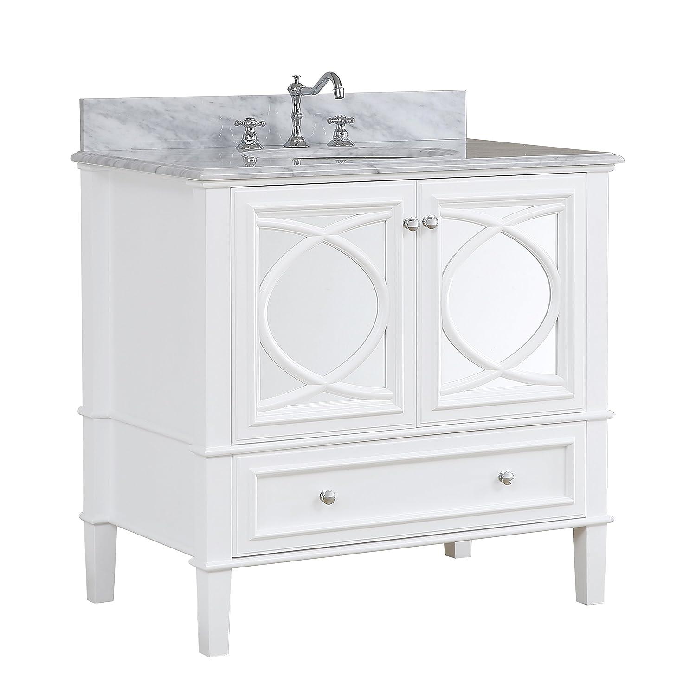 Olivia 36 Inch Bathroom Vanity Carrara White Includes A