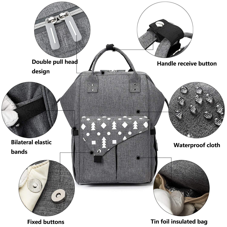Gro/ße Kapazit/ät Wasserdichte Wickeltasche Rucksack mit USB Baby Wickelrucksack Senden 2 Kinderwagengurte 1Wickelunterlage 1 Isolierte Tasche Grau