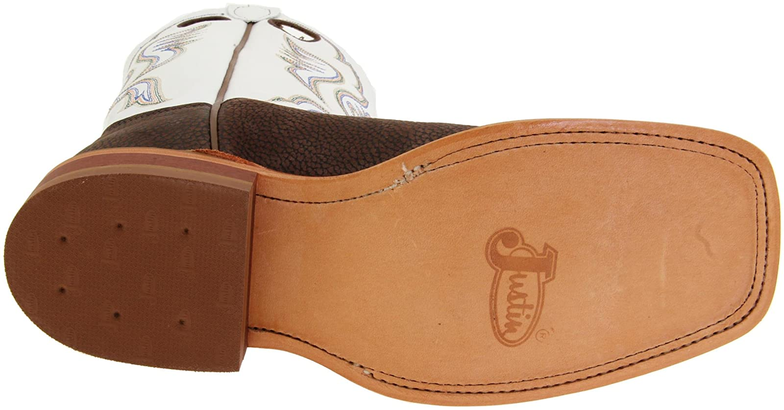 Justin Boots Men's U.S.A. Chocolate Bisonte/White Classic - 3