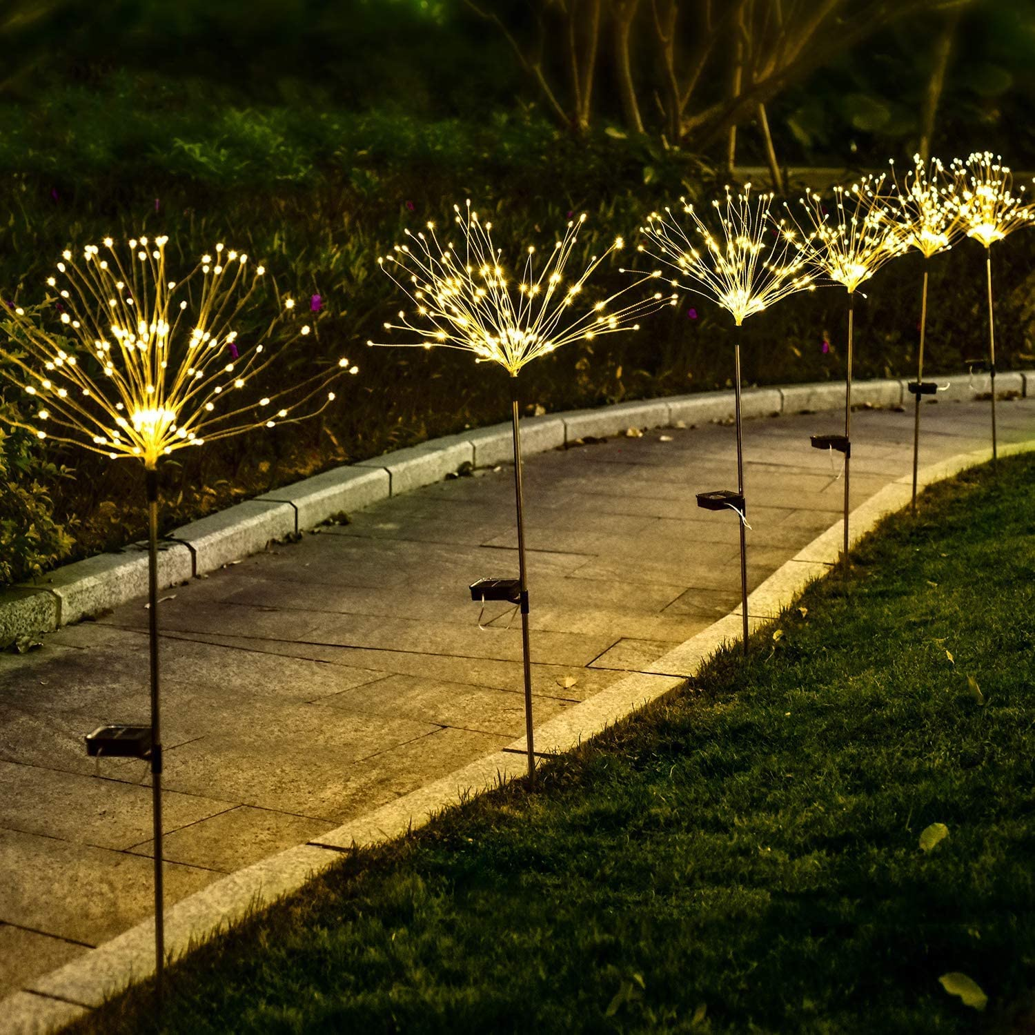 Ooklee Outdoor Solar Garden Light 1 Pc 150 Led 8 Flash Modes 50 Copper Wire String Firework Stake Starburst Fairy Lights Waterproof Diy Flower Trees For Walkway Patio Lawn Backyard Christmas Decor