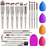 BESTOPE 18Pcs Makeup Brushes Set, 4Pcs makeup Sponge Set and 1 Brush Cleaner, Premium Synthetic Foundation Make Up Brushes Ki