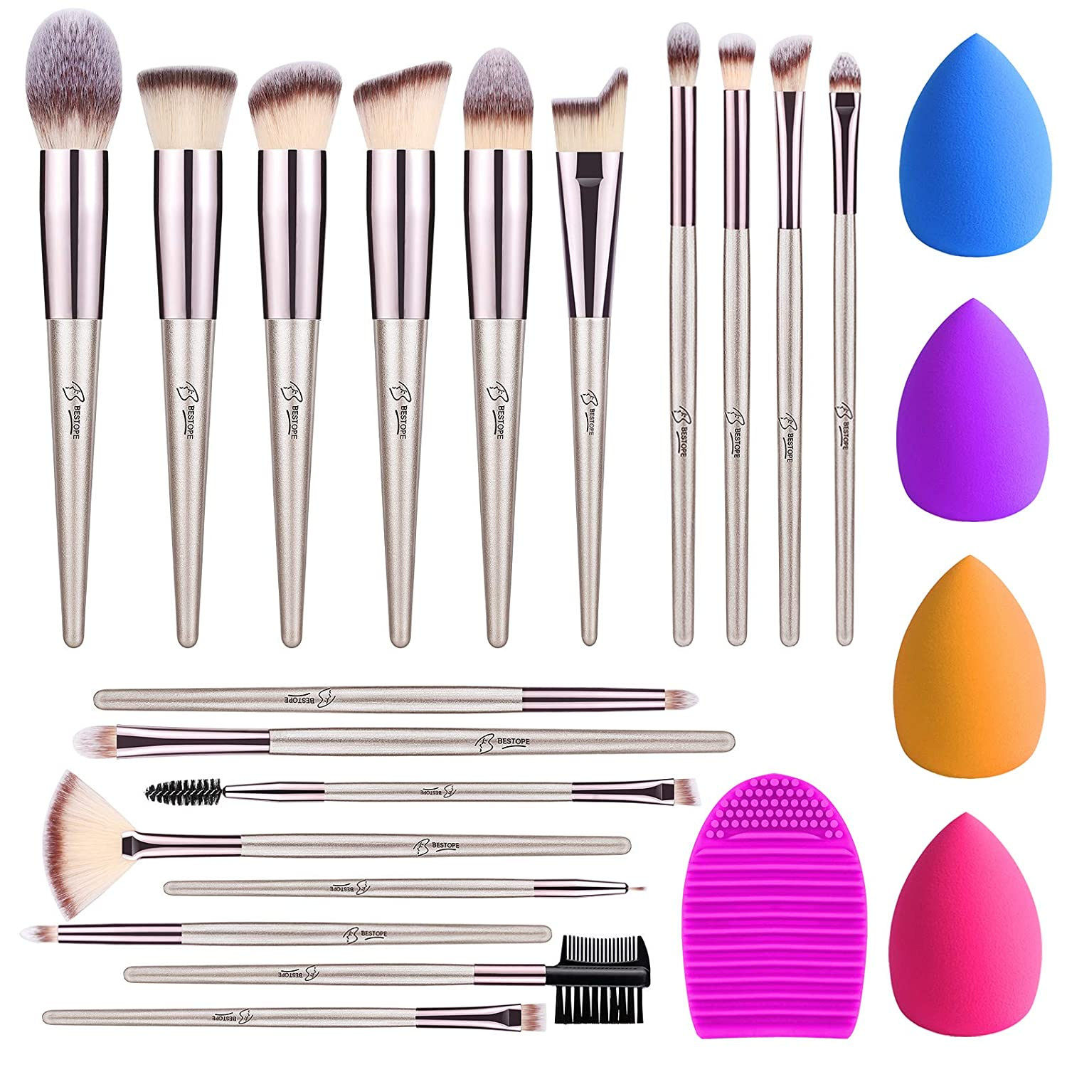 BESTOPE 18Pcs Makeup Brushes Set, 4Pcs makeup Sponge Set and 1 Brush Cleaner, Premium Synthetic Foundation Make Up Brushes Kit Champagne Gold Conical Handle(Champagne Gold)