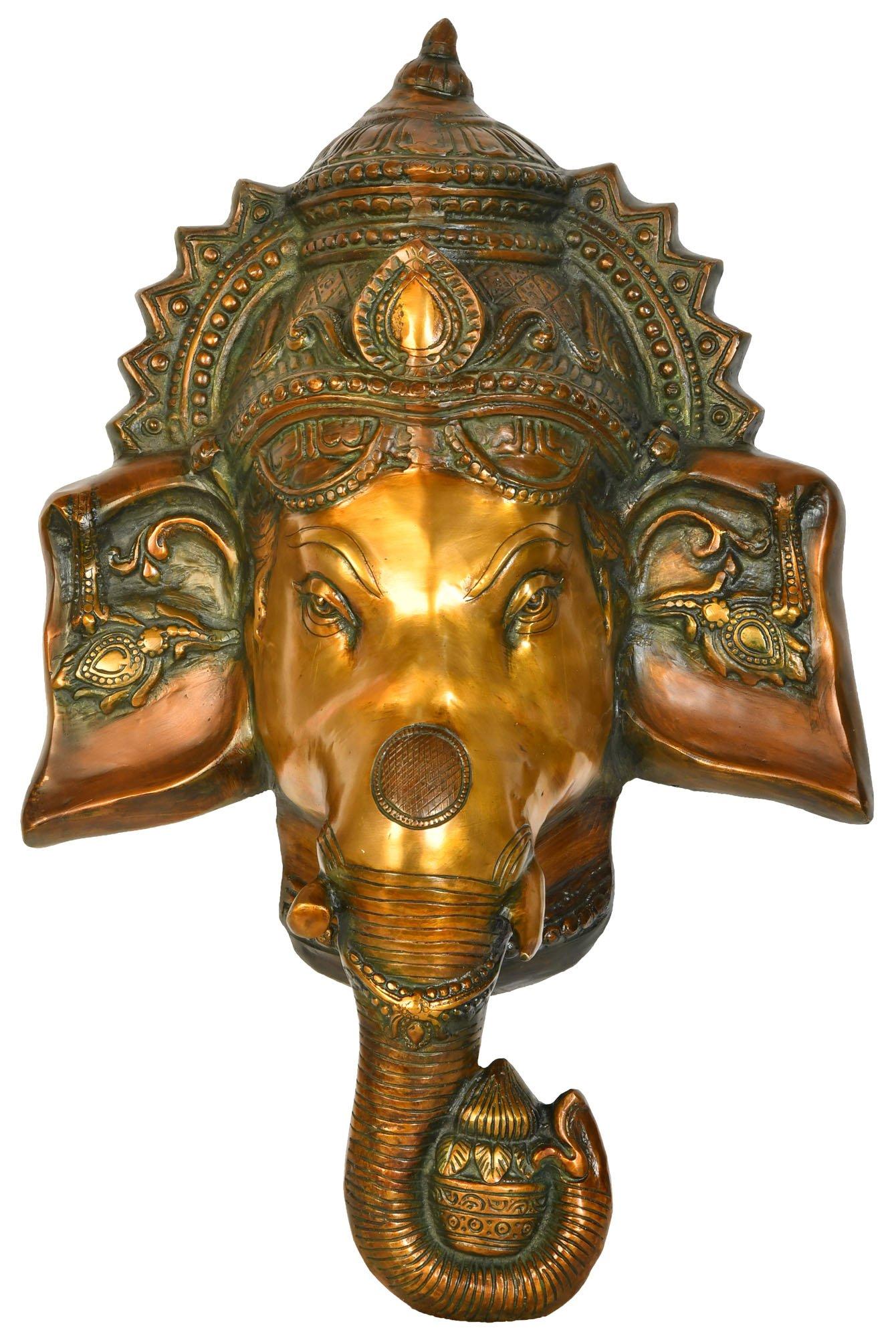 Auspicious Lord Ganesha Wall Hanging Mask (Large Size) - Brass Statue