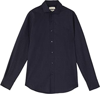 Massimo Dutti Men 0124/140/401 - Camisa de sarga de algodón ...