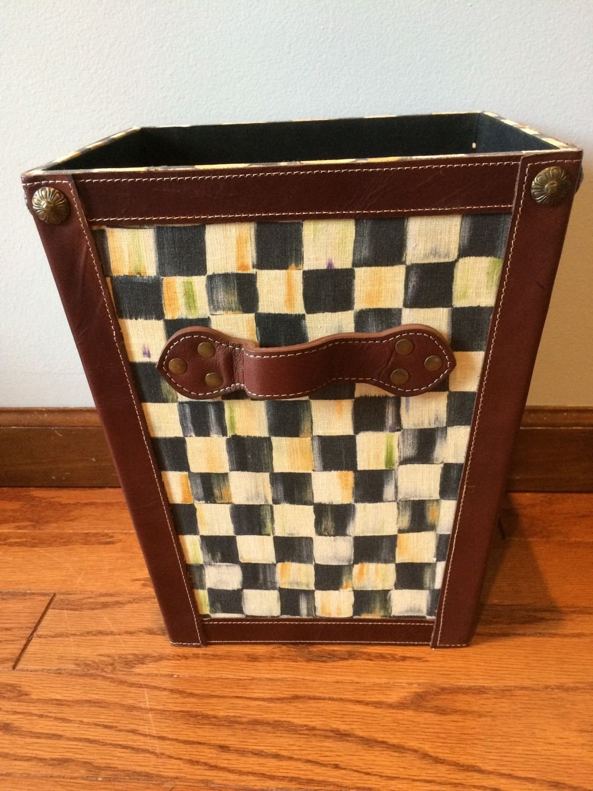 Mackenzie Childs Courtly Check Waste Basket 100% Authentic.