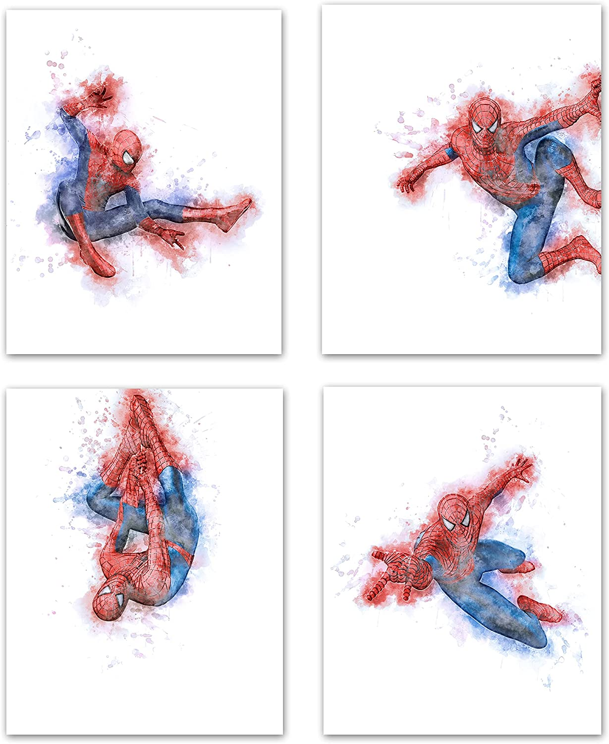 Spiderman Wall Art Decor Poster Prints- Watercolor Spiderman Poster Prints For Boys, Girls Bedroom - Spiderman Wall Posters For Boys Room - Marvel Avengers Poster Prints Boy Room Decor - Spiderman Room Decor For Boys - Set of 4 (8 x 10) Unframed