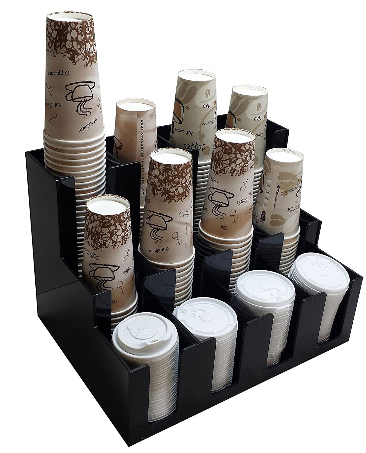 Verticle Coffee Cup Dispenser and Lid Holder Condiment