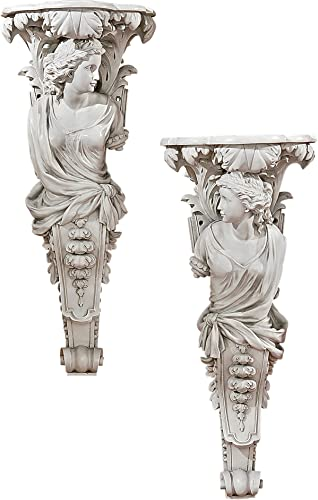 Design Toscano French Baroque Caryatid Wall Sculptures Set of 2