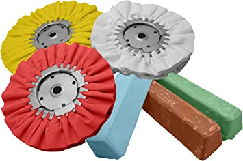 Amazon Com Complete 6pc Kit Buffing Wheel Polishing Aluminum Brown Blue Red Compound Set Home Improvement