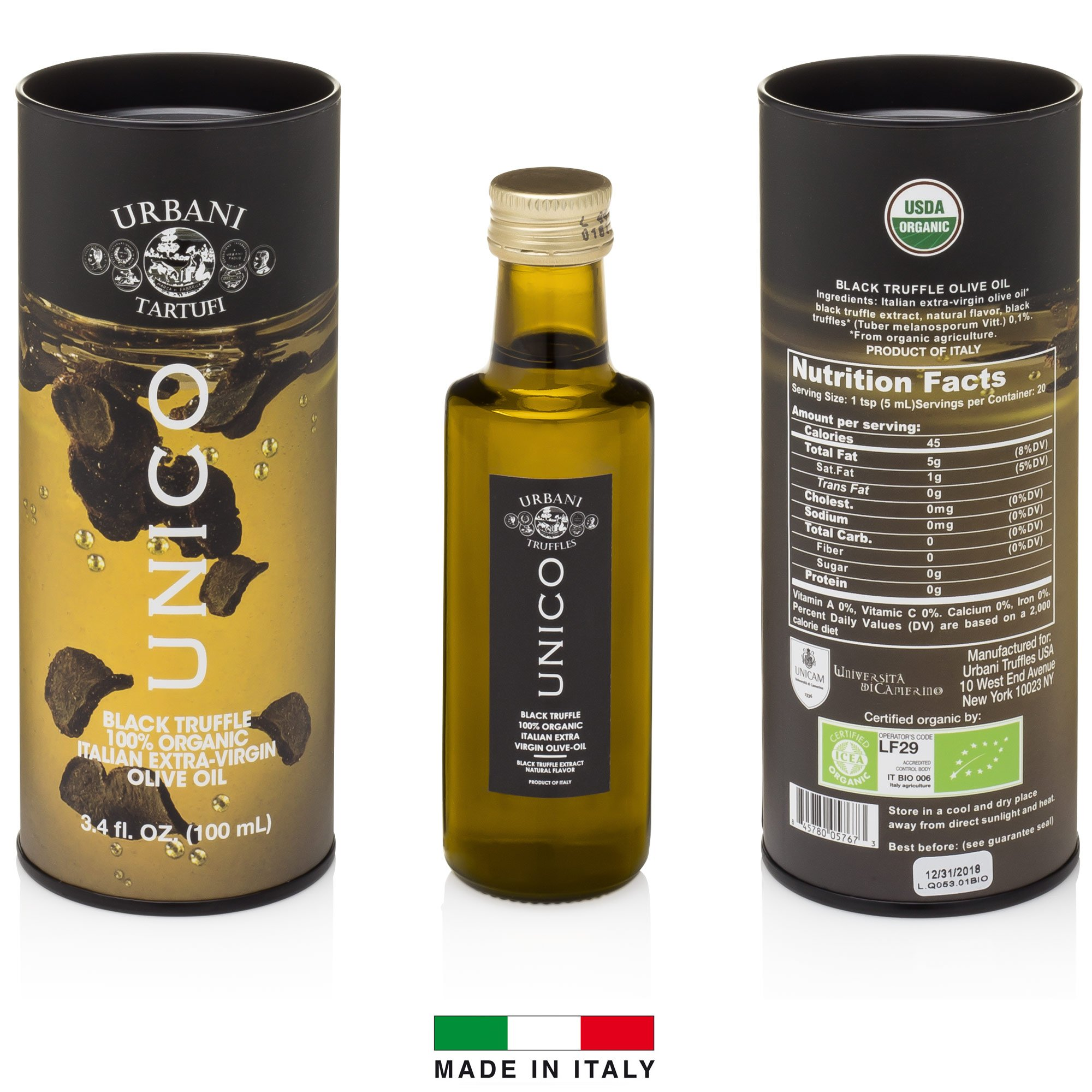 Italian Black Truffle Extra Virgin Olive Oil - 3.4 Oz - by Urbani Truffles. Organic Truffle Oil 100% Made In Italy Without Chemicals And With Real Truffle Pieces Inside The Bottle. No Artificial Aroma by Urbani Truffles