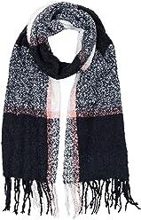 SIX Großer kuscheliger warmer Bouclé Schal mit schwarzen creme weißen Karos und rosa Streifen, 60 x 200 cm (705-498)