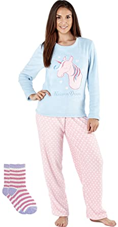 daea3ea54c Image Unavailable. Image not available for. Colour  Womens Ladies Fleece  Pyjama Set Lounge Wear Warm Soft long Sleeve Top Night Winter PJs with