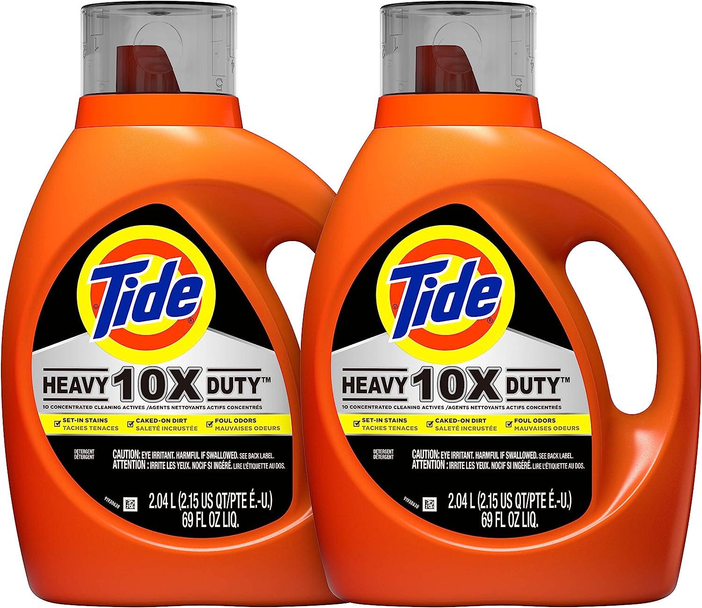 Tide 10x Heavy Duty Liquid Laundry Detergent, 72 Total Loads, 69 Fl Oz, Pack of 2