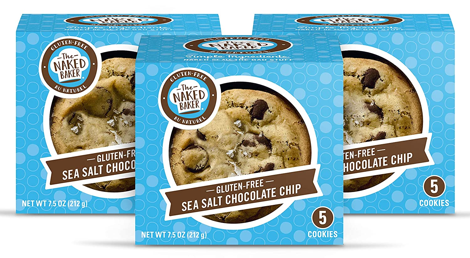 The Naked Baker Gluten Free Cookies, Soft Baked Chocolate Chip Sea Salt, All Natural, THREE 5-cookie packages