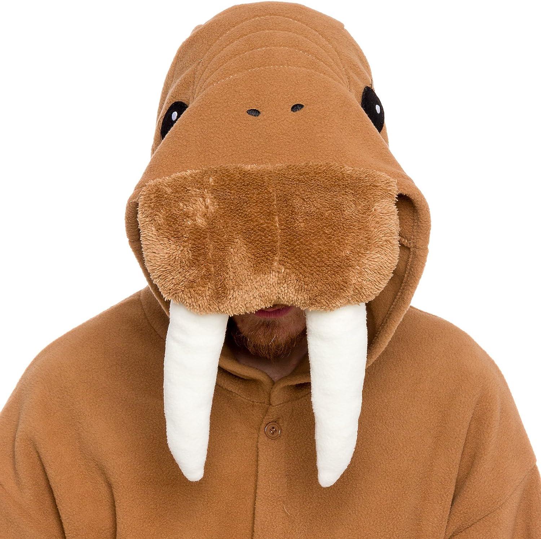 Unisex Adult Animal Pajamas Plush One Piece Halloween Walrus Animal Costume Silver Lilly
