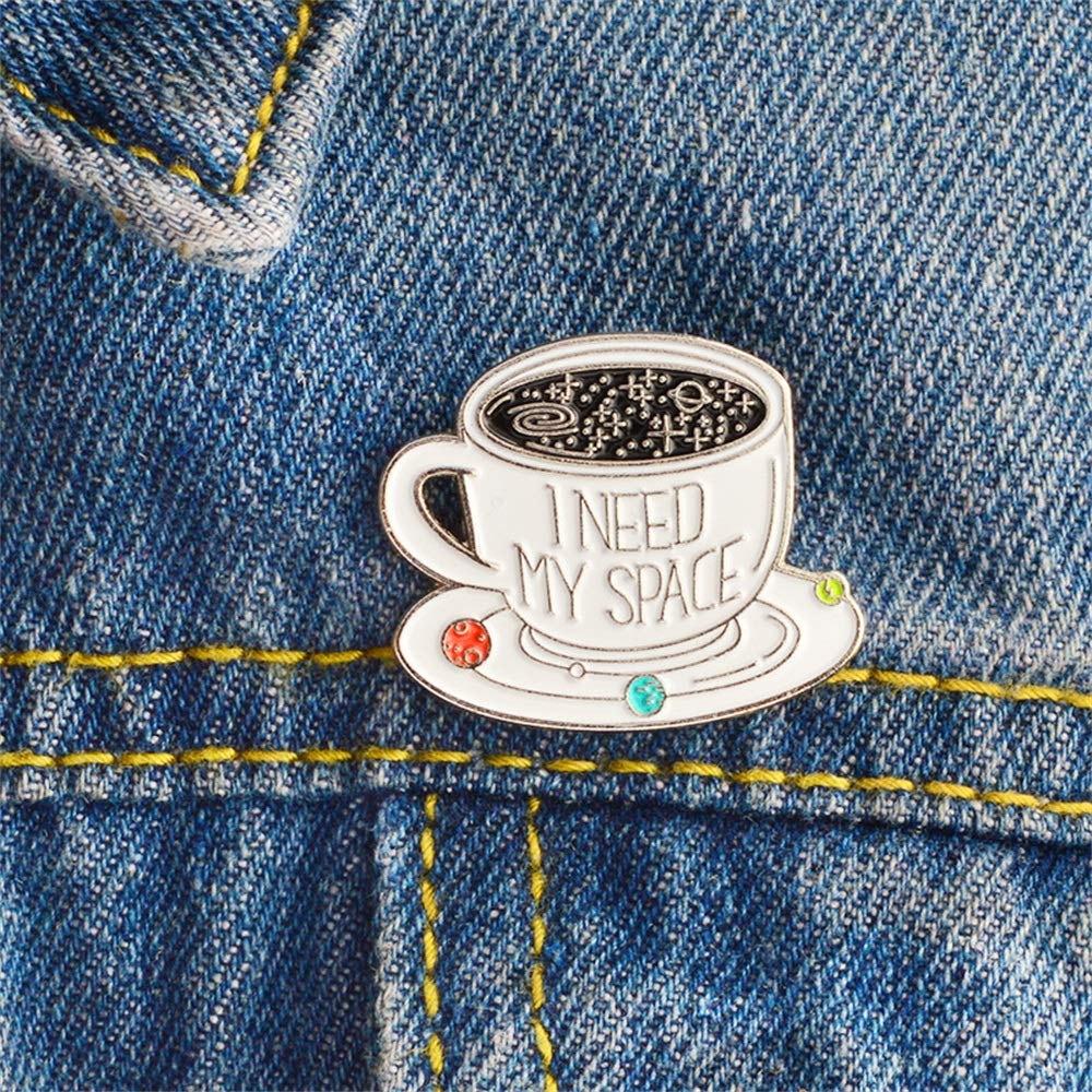 Qirui Cute Metal Enamel Brooch I Need My Space Pin Badge Denim Jacket Collar Bags Backpacks Decoration Pins Jewellery Label Accessories Gift for Woman and Girls