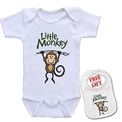 e6df83f53 Little Monkey - Cute Custom boutique Baby bodysuit onesie & matching bib