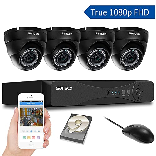 [TRUE 1080p] SANSCO 4 Channel FHD CCTV Camera System with 4 2 Mega-pixel Indoor Outdoor Dome Cameras and 1TB Internal Hard Drive (2M Recording/Playback, Instant Email Alerts, Day/Night Vision, Vandal-Proof Housing, Mobile App: Xmeye)