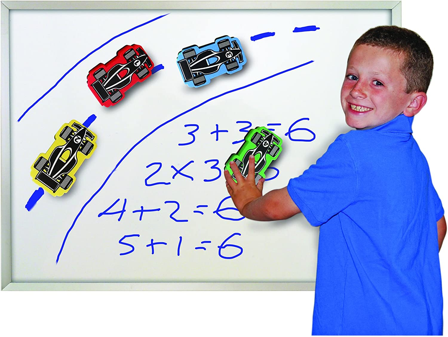 The Classics Magnetic Race Car Erasers for Whiteboard Games, 4 Pack (TPG-358)
