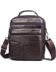 SPAHER Men Leather Handbag Shoulder Bag IPAD Business Messenger Backpack Crossbody Casual Tote Sling Travel Bag with Top-handle and Adjustable Removable Detachable Shoulder Strap Large Size Deep Brown
