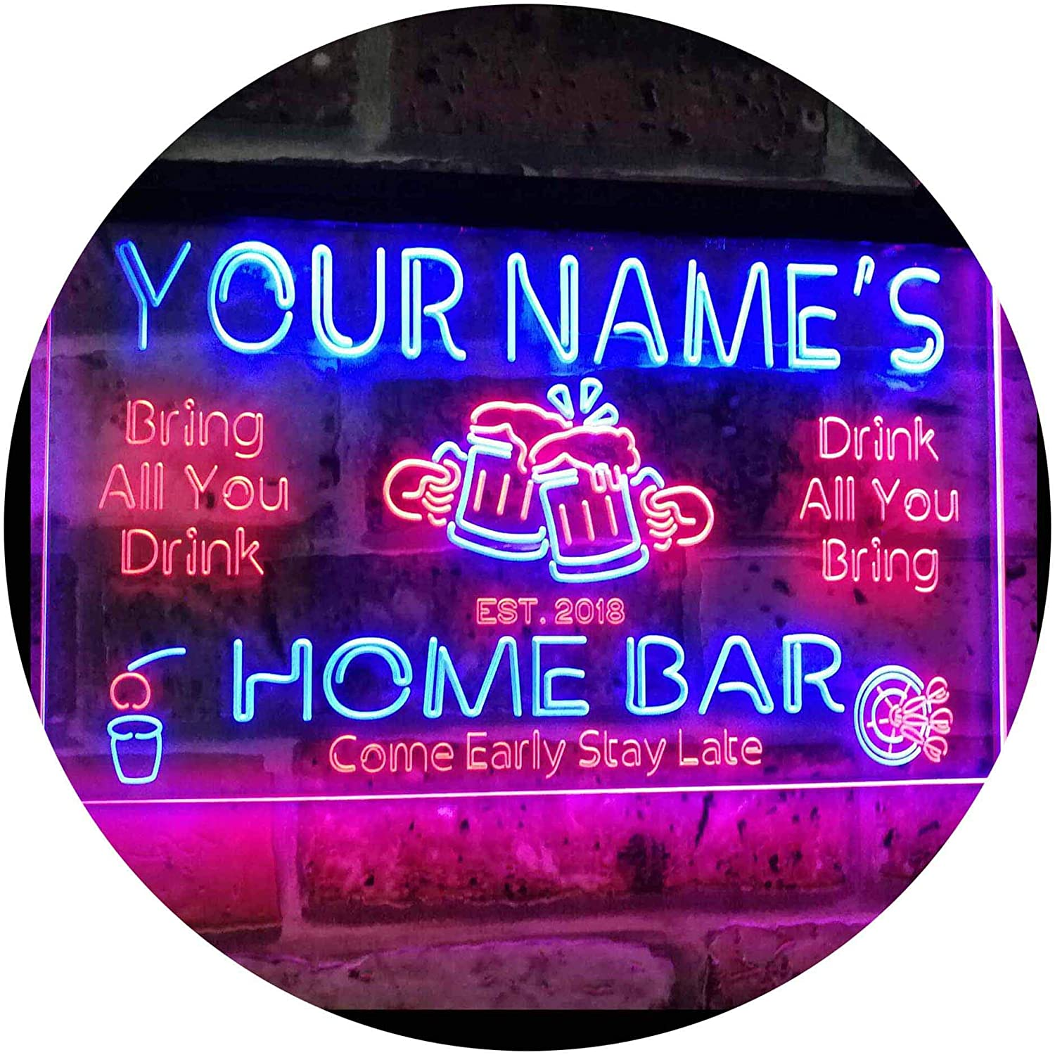 Home Bar Beer Family Name LED Neon Light Sign hang sign home decor crafts