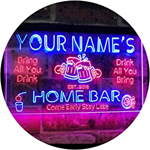 ADVPRO Personalized Your Name Custom Home Bar Beer Established Year Dual Color LED Neon Sign Red & Blue 24 x 16 Inches st6s64-p1-tm-rb