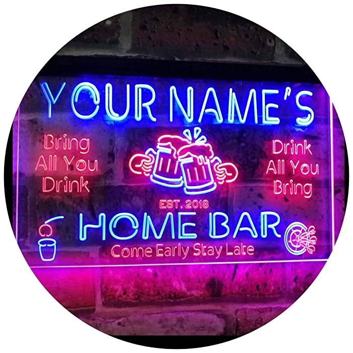 "Personalized Your Name Custom Home Bar Beer Established Year Dual Color LED Neon Sign Red & Blue 16"" x 12"" st6s43-p1-tm-rb"