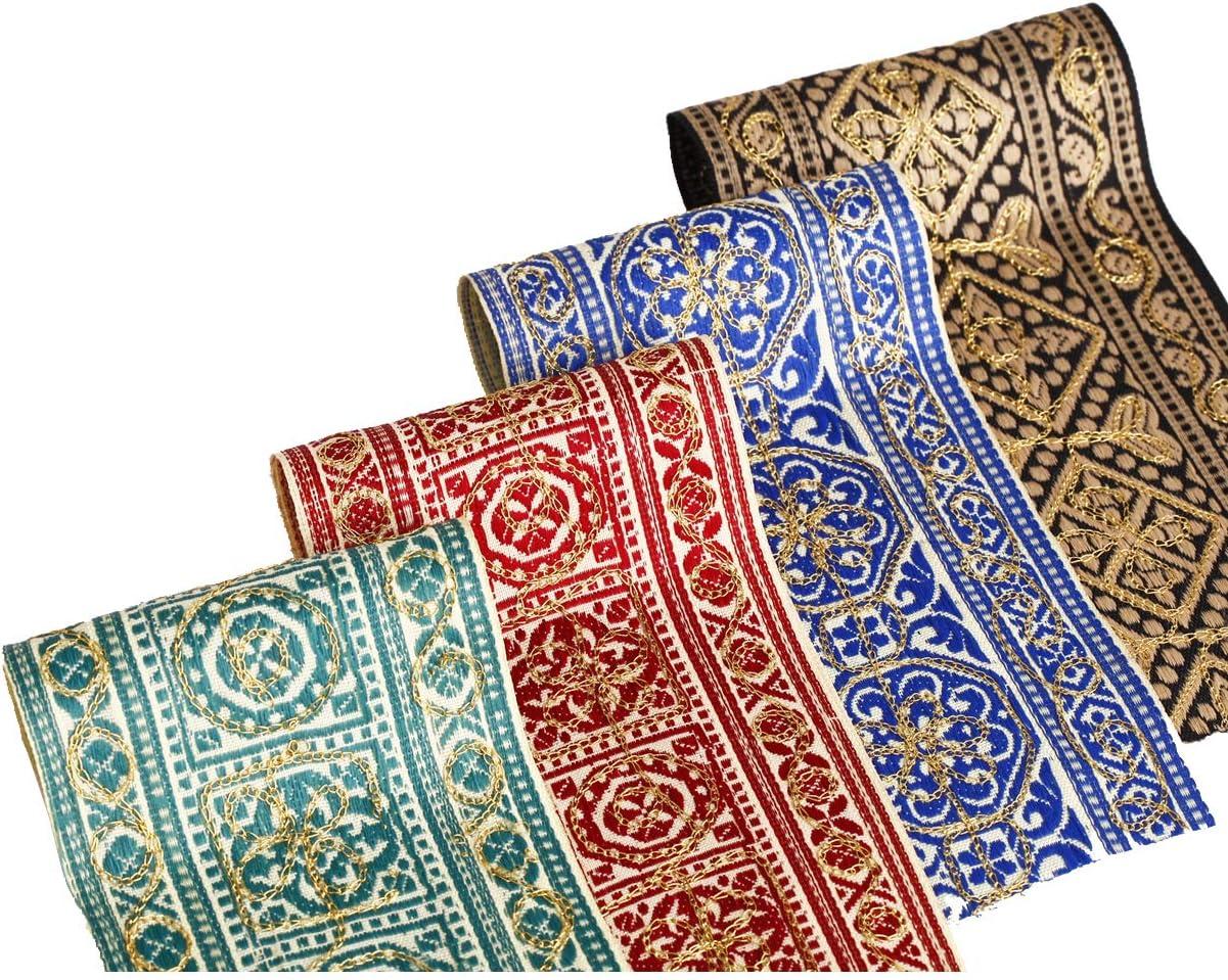 1 M Brown Gold Jacquard brodé ruban Applique Motif Parage Decor Indian